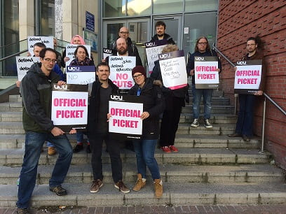 Picketing outside of Priory Square building at Hastings Campus