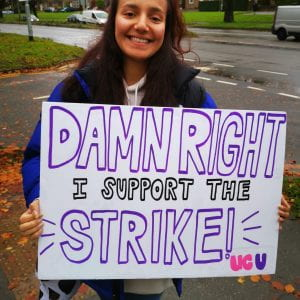 student in support of strike