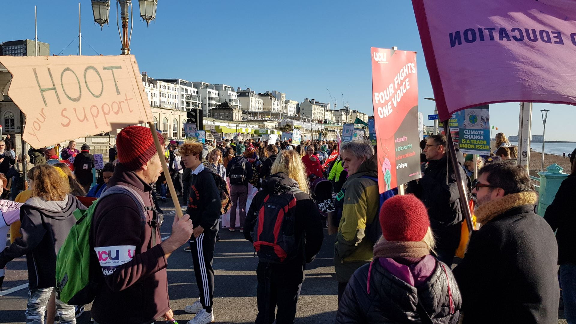 UCU members assembling before the climate strike march, Brighton November 29 2019
