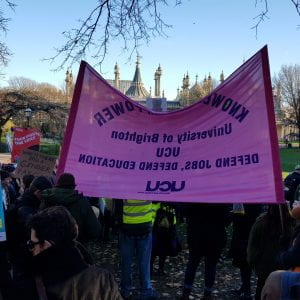 Brighton UCU banner at rally Monday 2nd December