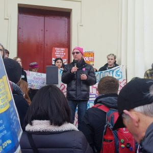 Mark Abel at rally Monday 2nd December