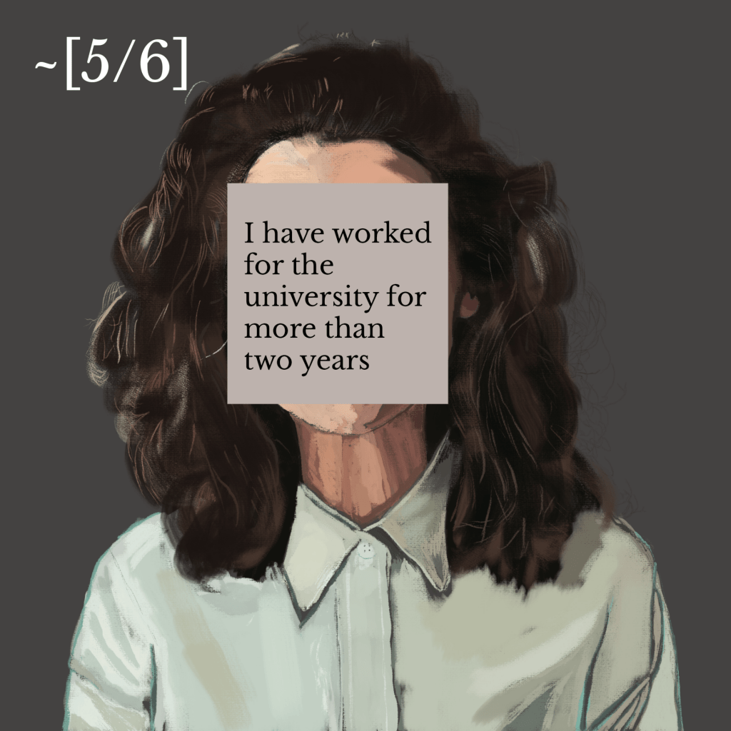 Illustration of a person with long and big hair and mint green shirt. an annotation over their face reads 'I have worked for the university fo more than two years' with 5/6