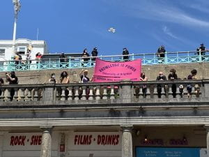 Image of the UCU banner on the promenade at Madiera Drive