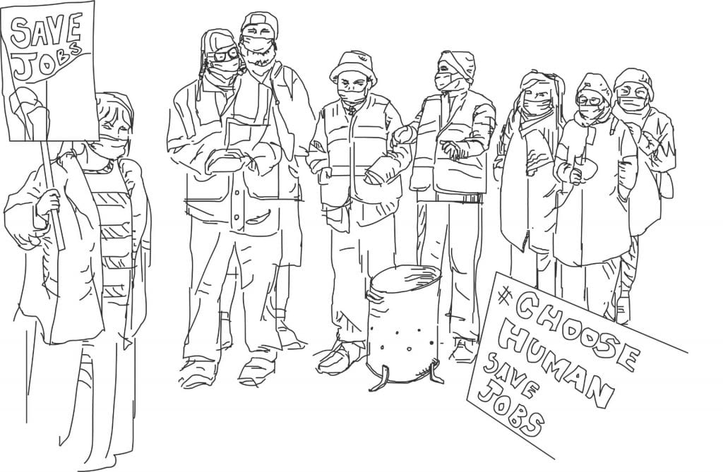 Line drawing of striking workers in face coverings. We're safe, you know?