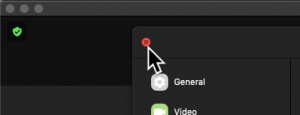 Screenshot of a mouse cursor clicking on the close button on the top-left of the window