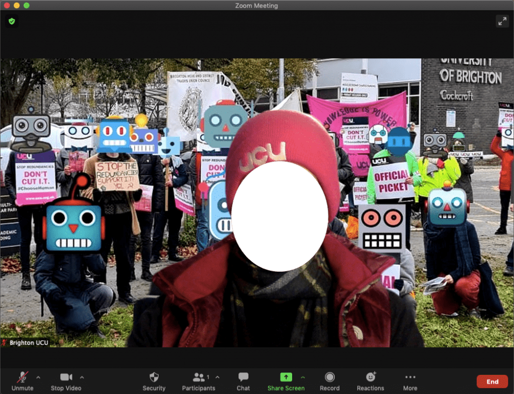 Screenshot of a person on Zoom video with the newly added picket line background