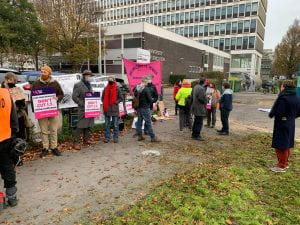 students and staff together on picket line