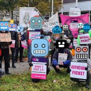 decorative picket line background images - people with superimposed robot heads