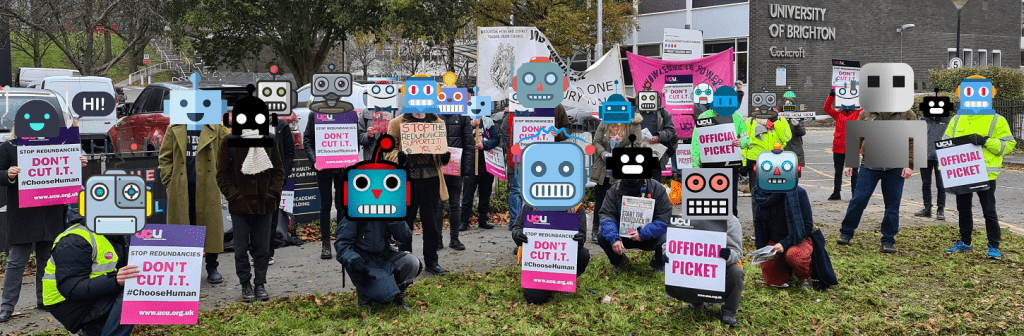 photograph of picket line with cartoon robot icons imposed over people's faces