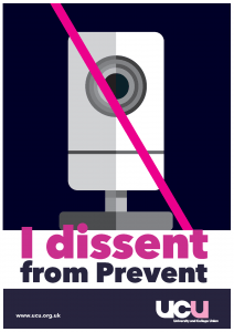 """poster with image of CCTV camera crossed out. Caption """"I dissent from prevent"""""""