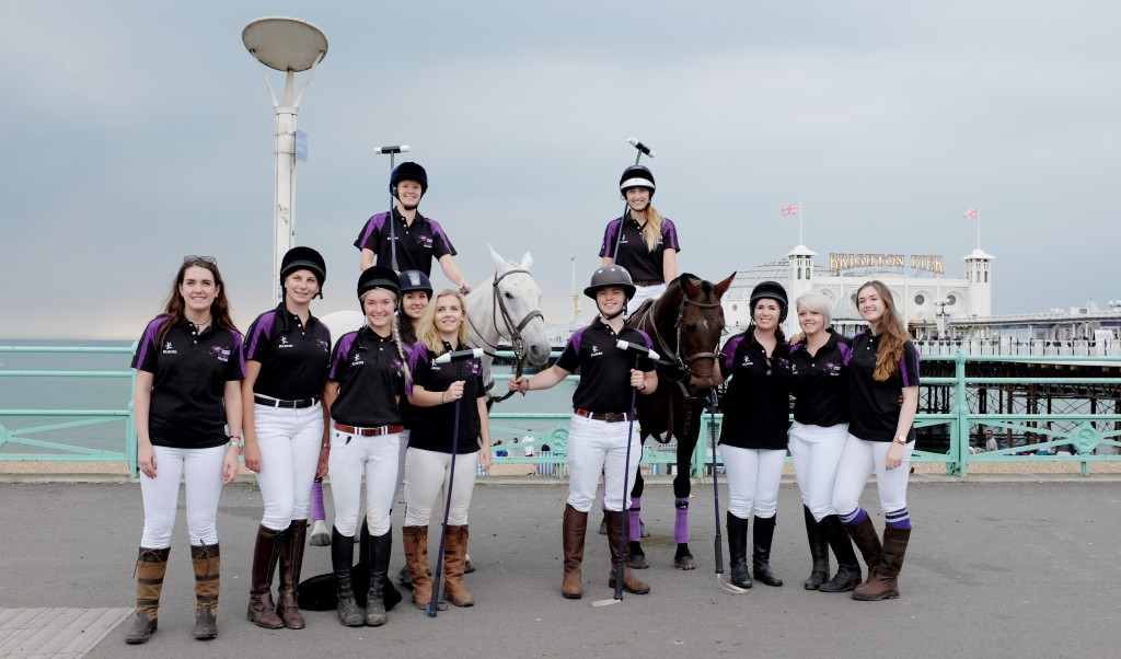 Brighton UK 7th June 2016 - Members of the newly formed University of Brighton  Polo team took a break from training to introduce themselves to the public on Brighton seafront this morning Photograph taken by Simon Dack