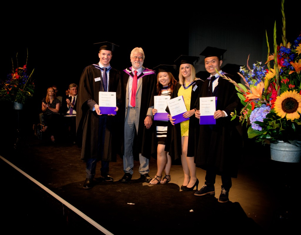 Pictured with Aidan Berry, the Enterprise Rent-a-Car Prize for the best marketing plan winners: Alex Varga, Chris Bax, Zoe Shing and Kunwei Liang