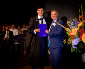 Nick Rawson, Knill James chartered accountants, presenting Nicholas May The Knill James prize for the best final year BSc(Hons) Accounting and Finance student.