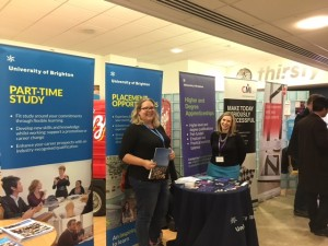 Clare Forder and Viki Falkner promoting our placement opportunities and Apprenticeship courses during the networking session.