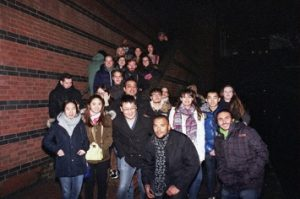 Students next to a Birmingham canal
