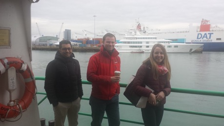 Students standing by the Port of Southampton