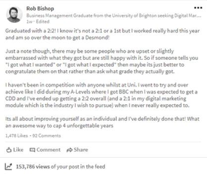 Rob's Linkedin Post