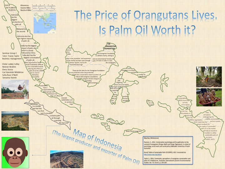 winning poster design - The price of Oranguatans Lives