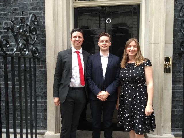 winning students pictured outside no. 10 Downing Street