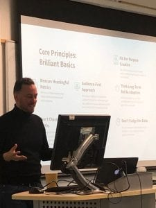 Digital Marketer, Greg Allum, guest lecturing students on the Marketing course