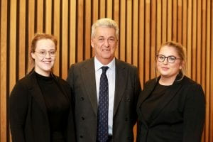 Richard Ager from 1 Crown Office Row with law students Natasha and Paige