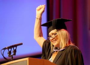 Sheila Flavell speaking at the 2018 graduation ceremony