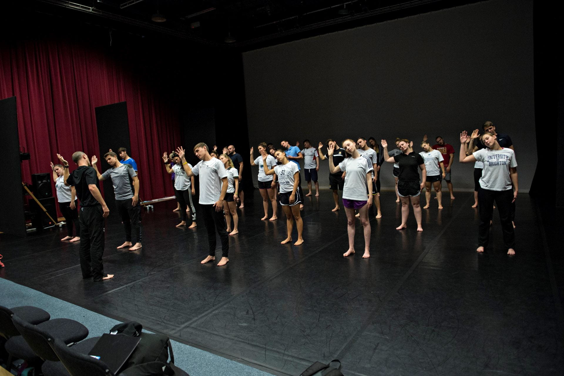 students performing dance in John Fulton Hall