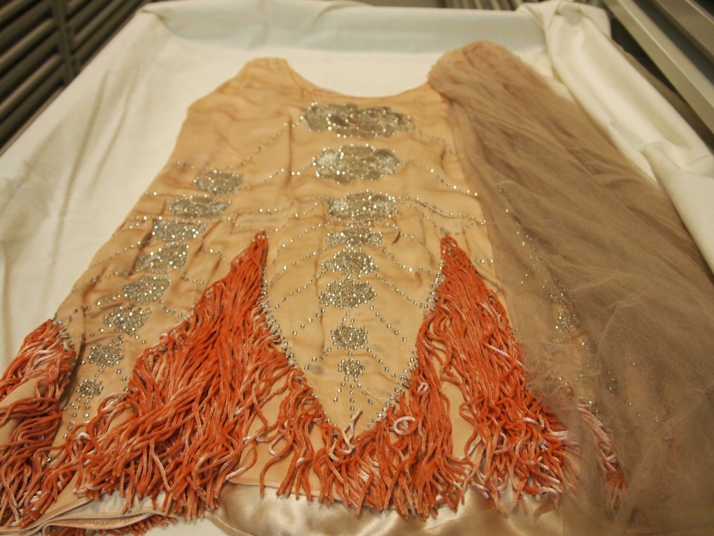 Figure 4. View of 1920s heavily embellished dancing dress. Musee Galliera Store Rooms, 2013. Personal Photograph by the authors. April 22nd 2013.