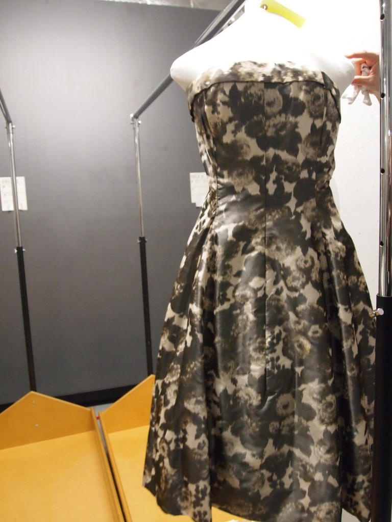 Figure 5. View of Yves Saint Laurent for Dior 1957-1958 Couture Dress. Musee Galliera Store Rooms. Personal Photograph by the author. April 22nd 2013.