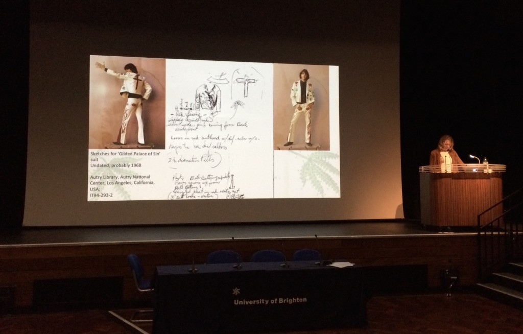 Janet Aspley giving a paper on Gram's Gilded Palace suit. Photo by Alice Hudson