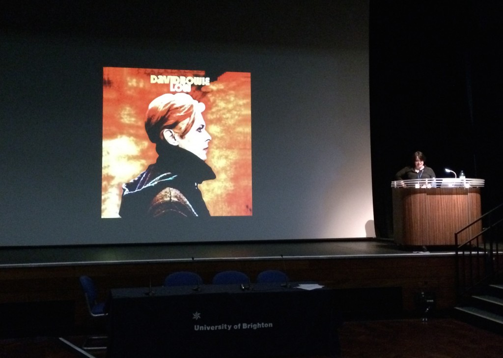 Mairi MacKenzie speaking about 'The Man Who Fell to Earth: Bowie, Football & Fashion in Liverpool 1976-1979'. Photo by Alice Hudson