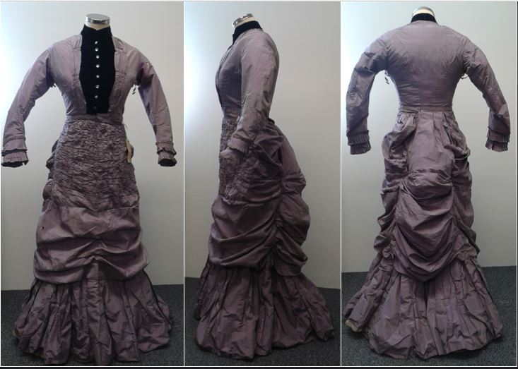 Front, side & back view of the 1880s Mauve Altered Afternoon Dress. Photo by Sarah-Mary Geissler
