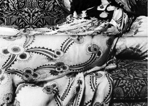 4. Model in an Ossie Clark dress, reclining on a settee covered in the original William Morris' Bird Design. Photographed by John Kelly at Wightwick Manor for Vanity Fair, May 1970. Scanned by Miss Peelpants.