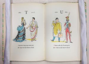 T & U 'Tournure was worn at the time- the toga was the Roman's dress. Uhlan whip the ladies gladly- the Ulster coat for a quality Gentleman.' Ein lustiges ABC der Moden, Trachten und Kostüme, Fritz Kredel [n.d.]