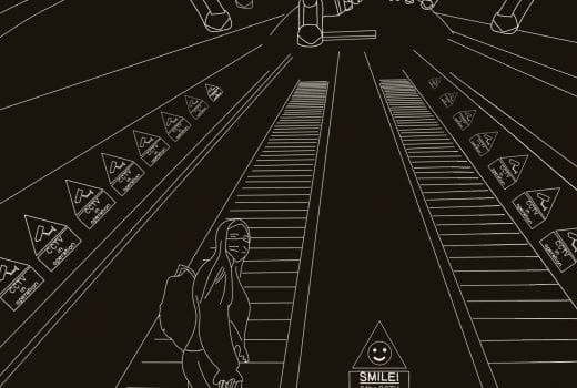 Digital illustration showing a figure descending an escalator wearing a face mask