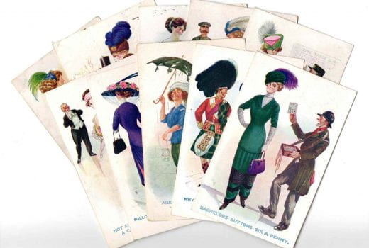 Two layers of cards fanned out, featuring illustrations of costumes from different eras
