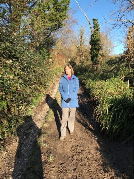 Lorraine on one of her country walks