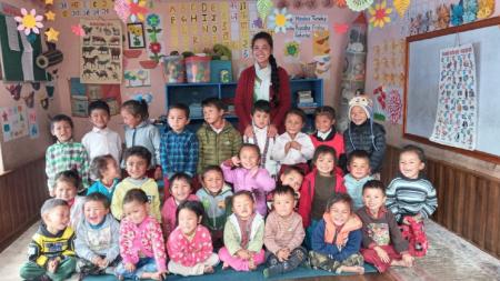 Malagiri pupils with their teacher