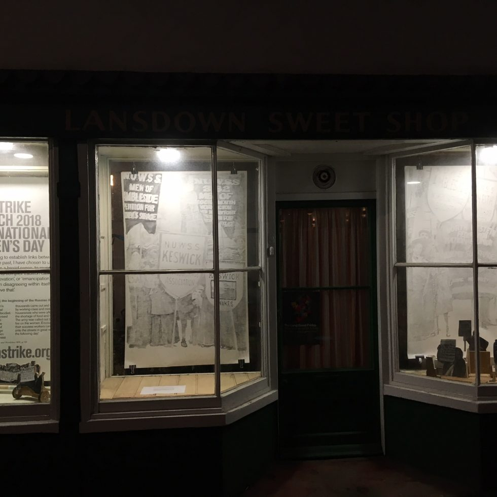 sweetshop windows at night