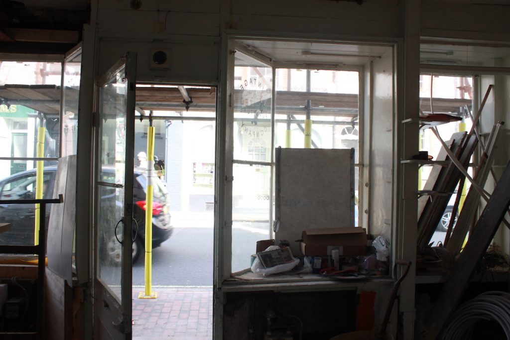 inside the old sweetshop looking out