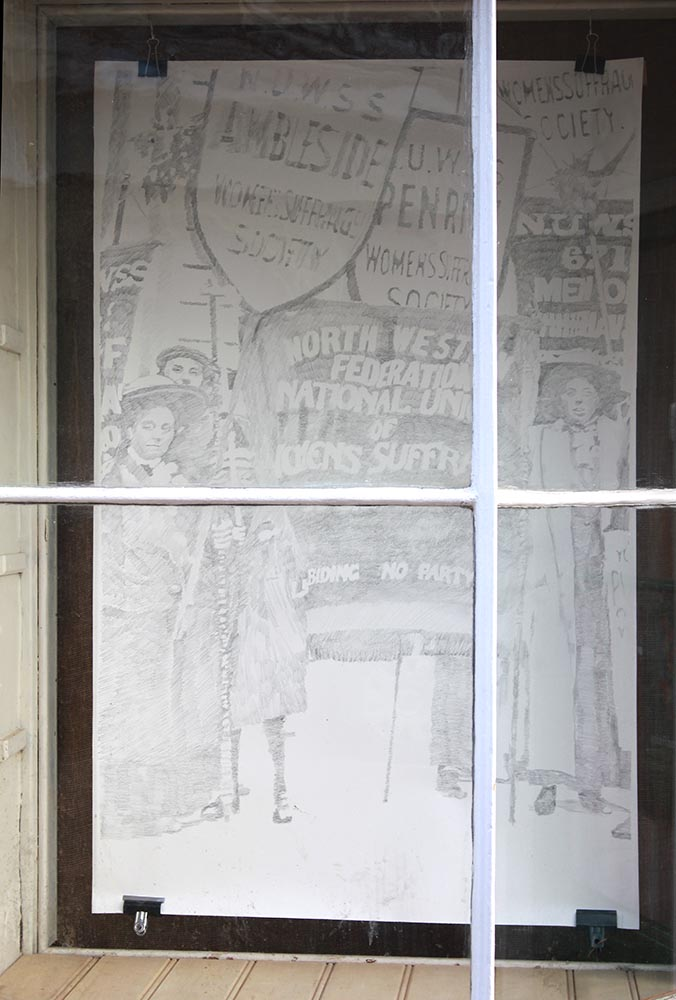 Left half of drawing of Suffrage Pilgrims