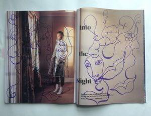 drawing on fashion magazine
