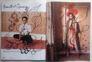 pen drawing on fashion magazine
