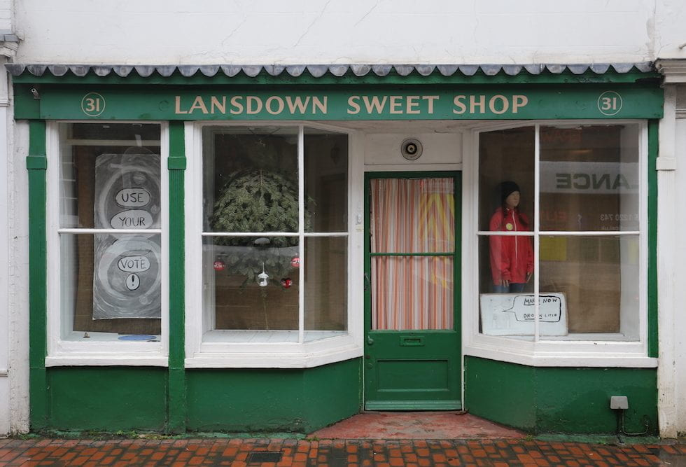 street view of sweetshop windows