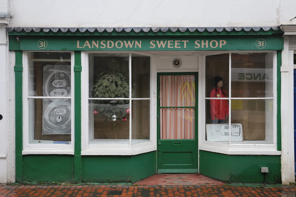 street view of sweetshop windows
