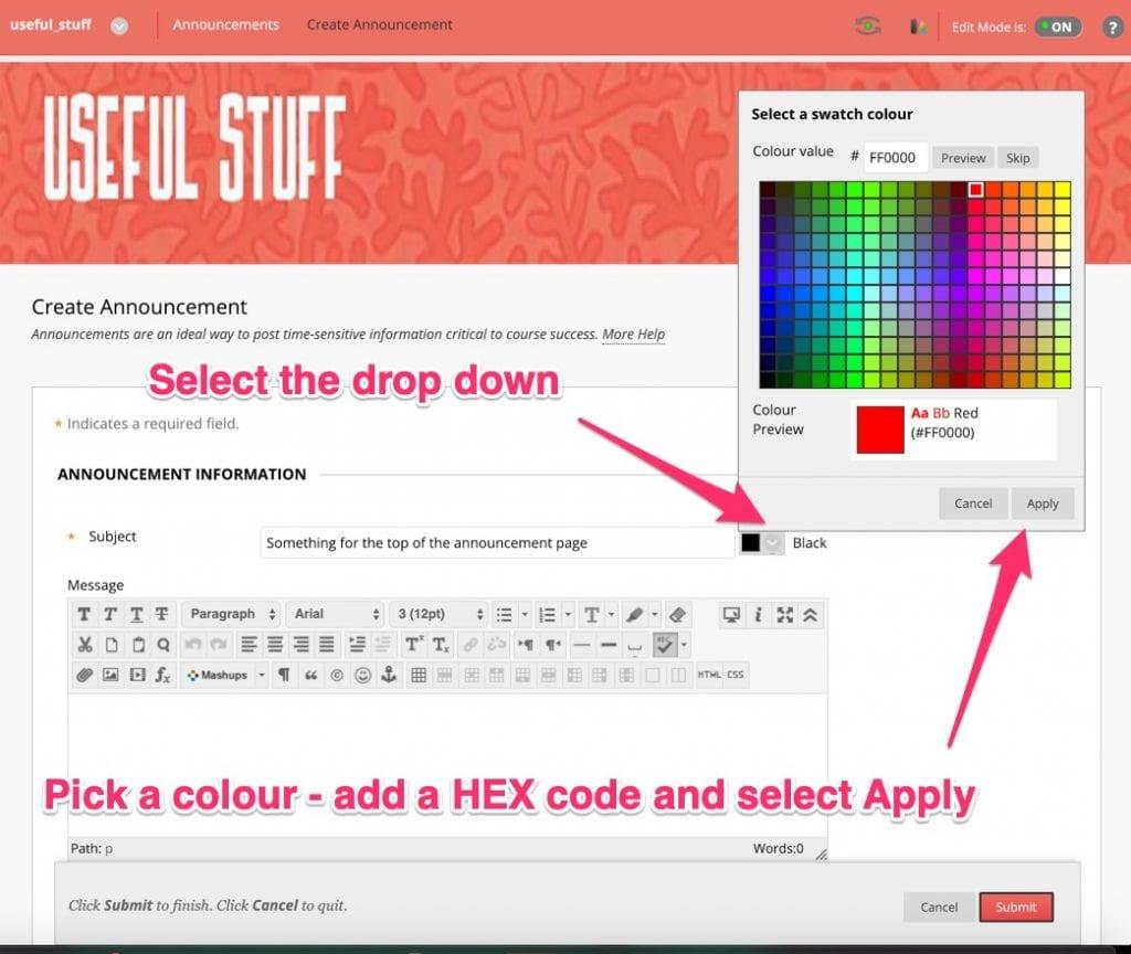 Title colour selector