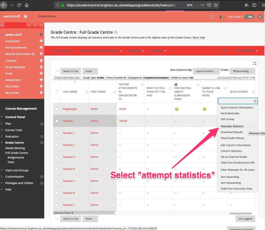 Select Attempts Statistics