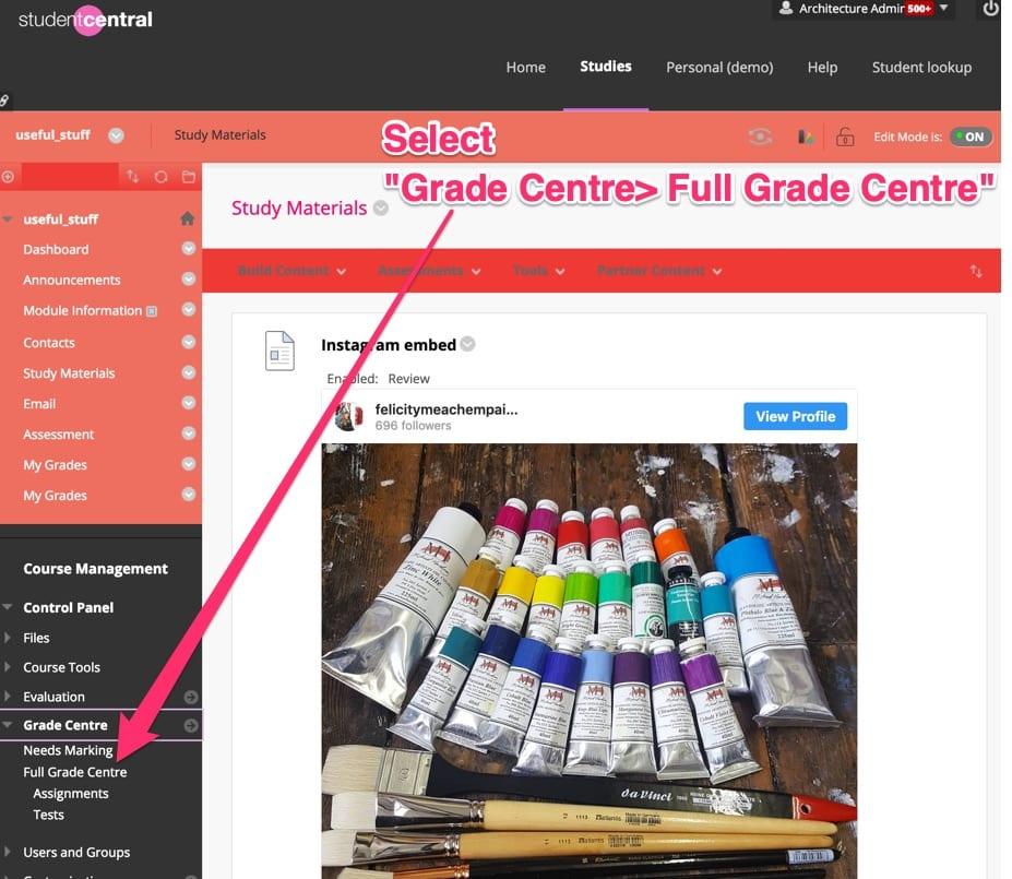 Select Course Management Grade Centre
