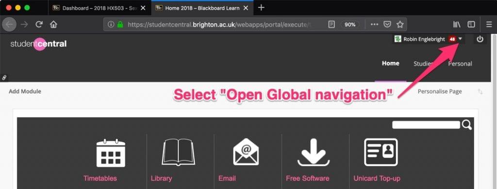 Open Global Navigation