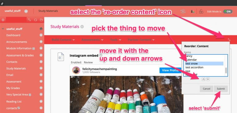 how to re-order content